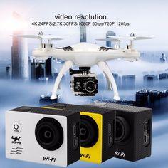 "4K 30FPS 16MP Action Camera Full HD 1080P 60fps Waterproof Cam Wifi Camcorders 170D Mini 2.0"" LCD Video Sport Camera #Affiliate Sports Camera, Hd 1080p, Cameras, Wifi, Action, Group Action, Camera, Film Camera"