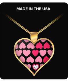 Heart Pendant Necklace for Girlfriend - Beautiful Hearts in Heart Pendant, Gold Plated - Susu Collection