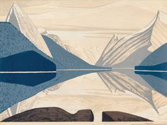 "Lawren Harris Canadian / ""Maligne Lake,"" c. Sampson-Matthews project screenprint (silkscreen) / National Gallery of Canada) Group Of Seven Art, Group Of Seven Paintings, Canadian Painters, Canadian Artists, Abstract Landscape, Landscape Paintings, Ontario, Vancouver Art Gallery, Public Art"