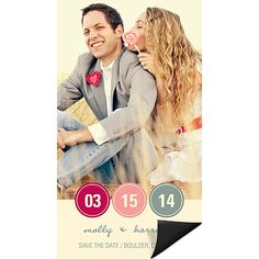 These photo Save the Date magnets are full of color and style with the circled initials in your choice of colors.