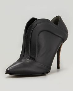 Pointed Piped Split-Front Bootie by Fendi at Neiman Marcus.
