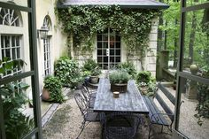 elegant.. gravel, shady foliage plants and I like the paint colour on the windows and furniture