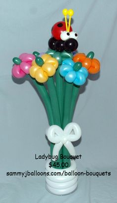 Ladybug Bouquet - $45.00. Can be delivered in the St Louis metro area or shipped across the country.     www.sammyjballoons.com/balloon-bouquets