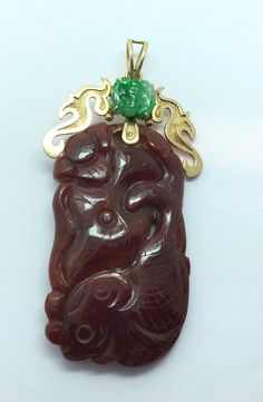 Ladies Estate Piece 14K Gold Green Jade Carved Koi Fish