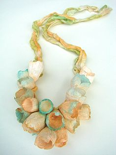 Ivory Green Linen Necklace with Paper Flowers. Statement Necklace, Bib Necklace, Textile Jewelry. Boho, Hippie, Natural Style on Etsy