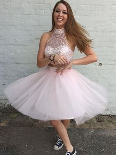 Two Pieces Prom Dresses, Cute Prom Dresses, Pink Prom Dresses, Short Homecoming Dresses Short Homecoming Dresses Teen Homecoming Dresses, Cute Short Prom Dresses, Two Piece Homecoming Dress, Prom Dresses Two Piece, Pink Prom Dresses, Tulle Prom Dress, Cheap Prom Dresses, Prom Party Dresses, Prom Gowns
