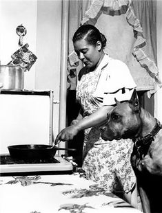 Billie Holiday and dog friend