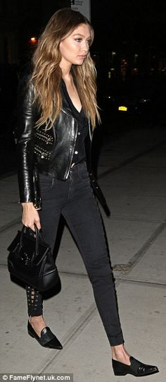 ee03c12ec8 Gigi Hadid tries out a rock chick look in NYC