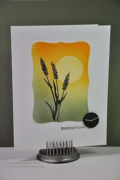 clean and simple design in masked area...sponged color background with black silhouette of wildflower printed on time