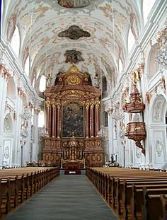 Nave and high altar of Jesuit Church, Lucerne, Switzerland - so light and airy; walls and ceiling looked as if they were frosted with beautiful white, gold, and pink frosting