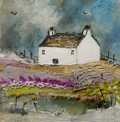 Lavander Cottage by Louise O'Hara     mixed media, textile, painting