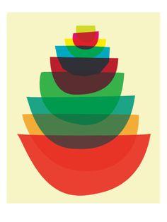 Bowl Stack Giclee Print by strawberryluna at Art.com