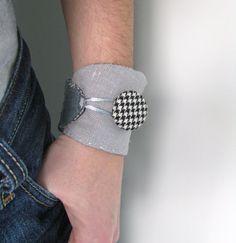 grey linen collage wrist cuff  houndstooth button by redstitchlab, €22.00