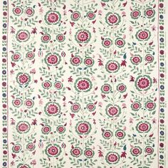 A contemporary twist on medieval floral motifs, the Simla features beautiful flowers repeated in vertical alignment combined with leaf and stem details. This design is available in Blue, Brown/Pink, Pink/Green Width: Blue Wallpapers, Pink Wallpaper, Fabric Wallpaper, Pattern Floral, Floral Motif, Curtain Drawing, Morrison Homes, Indian Symbols, Composition