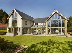 New Build House Design Ideas Uk,new build house design ideas uk,New timber frame home by Roderick James Architects. Photo courtesy of . Oak Frame House, Self Build Houses, Villa, Timber Frame Homes, Timber Frames, Exterior Wall Light, Rustic Home Design, House Extensions, New Home Designs
