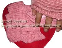 Atkı şapka eldiven takımı ve resimlerle örgü tekniği  Knitting scarf hat gloves set. Pictures knitting technique