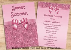 Custom handmade blue silver glitter quinceanera for Sweet sixteen program template