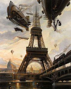 """La Tour"" by Didier Graffet air ships / airships over Paris Eiffel Tower steampunk / dieselpunk setting inspiration Ville Steampunk, Steampunk Artwork, Steampunk Airship, Steampunk Fashion, Steampunk Clothing, Gothic Fashion, Gothic Steampunk, Steampunk Wallpaper, Victorian Gothic"