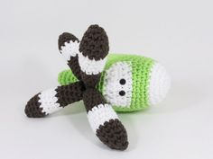Amigurumi Helicopter baby rattle stuffed toy - turnable blades - organic cotton - green and brown