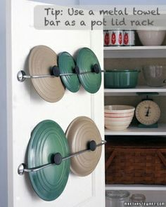 save some space. Good idea so pots can be stacked inside each other and lids easily accessible