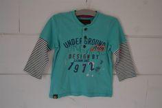 Tee-shirt en coton turquoise et rayé, effet 2 en 1 Catimini - 2 Ans