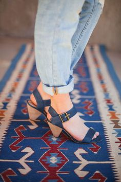 Faded Navy and a Mid heel for summer