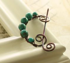 Hand forged swirl shawl or scarf solid copper pin with turquoise stones and a pin stick