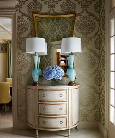 Love the aqua lamps with white shades. Love It or Leave It: The Return of Damask