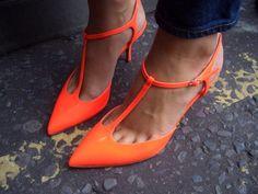Orange Kitten Heel Shoes | Tsaa Heel