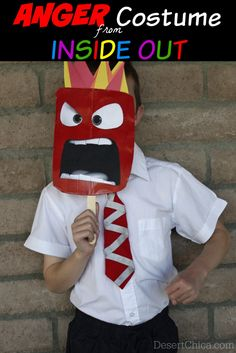 DIY Anger from Inside Out Costume Disney Costumes For Kids, Diy Couples Costumes, Unique Halloween Costumes, Diy Costumes, Halloween Costumes For Kids, Halloween Crafts, Halloween Party, Costume Ideas, Group Halloween