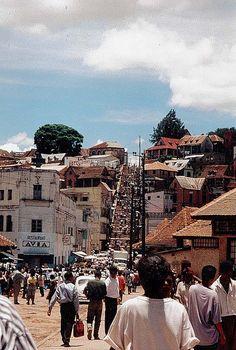 Las escaleras del mercado de Analakely, Madagascar, Antananarivo