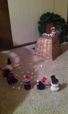Elf on A Shelf Snowball fight with marshmallows .. for Jodi