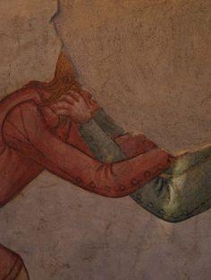 Sleeve detail - Casa delle Guardie, affresco, metà XIV sec - Castello di Avio, Sabbionara di Avio. Historical Art, Historical Costume, Historical Clothing, Medieval Costume, Medieval Dress, Renaissance Fashion, Renaissance Clothing, Medieval Life, Medieval Art