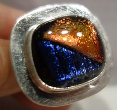 LARGE BLUE METALIC RED DICHROIC GLASS FUSED TASCO SILVER 0NE OF A KIND RING 9 #CONTEMPORYSTATEMENT