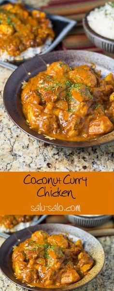 Use Coconut Oil - Coconut Curry Chicken, swap vegetable oil with coconut oil and the tomatoes with low carb tomatoes/sauce. - 9 Reasons to Use Coconut Oil Daily Coconut Oil Will Set You Free — and Improve Your Health!Coconut Oil Fuels Your Metabolism! Indian Food Recipes, Asian Recipes, Healthy Recipes, Rice Recipes, Thai Curry Recipes, Coconut Milk Recipes Indian, Shrimp Recipes, Coconut Powder Recipes, Healthy Indian Food