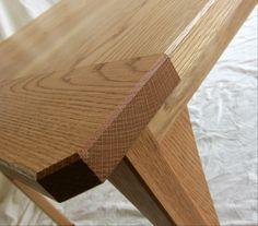 Table handmade from oak by davidtowers.biz, breadboard end detail.