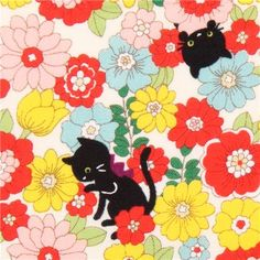 cat and flowers tissu série animaux par Cosmo from Japan