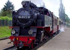 Die Schmalspurbahn Molli fährt in den Bahnhof Kühlungsborn Ost ein