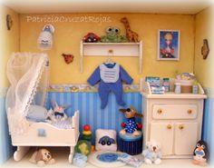 Cuadro Espacio Niño bebé con miniaturas