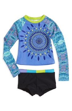 Limeapple 'Honolulu Moroccan' Two-Piece Rashguard Swimsuit (Little Girls) available at #Nordstrom