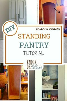 Learn how to make your own freestanding pantry with this tutorial from KnockOffD… – kitchen pantry Diy Furniture Projects, Diy Wood Projects, Diy Kitchen Decor, Diy Home Decor, Decor Crafts, Kitchen Ideas, Diy Pillows, Custom Pillows, Diy Design