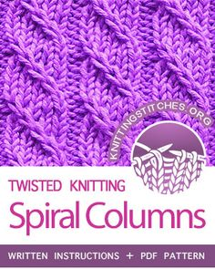 Spiral Columns – Left twist – The Best Ideas Knitting Stiches, Knitting Blogs, Easy Knitting, Knitting For Beginners, Loom Knitting, Knitting Patterns Free, Crochet Stitches, Stitch Patterns, Crochet Patterns