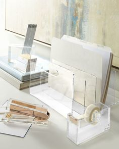A collection of acrylic desk accessories could be nice. Acrylic Desk Accessories at Neiman Marcus. Home Office Space, Home Office Design, Home Office Decor, Office Chic, Desk Space, Library Design, Feminine Office, Workspace Desk, Gold Office