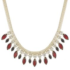 Mood Online exclusive red navette drop necklace - Mood from Jon Richard UK