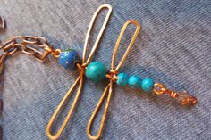 Copper and Turquoise Dragonfly Necklace $20