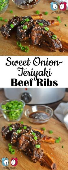 Sweet Onion-Teriyaki Beef Ribs on Alarm Clock Wars. Put your slow cooker to use with this recipe for Sweet Onion-Teriyaki Beef Ribs. They are fast to prep and slow to cook, and they taste amazing!