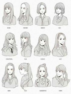 ideas hair drawing reference anime art for 2019 Drawing Poses, Manga Drawing, Drawing Sketches, Art Drawings, Hair Styles Drawing, Anime Hair Drawing, Drawing Ideas, Drawing Tips, Hair Styles Anime