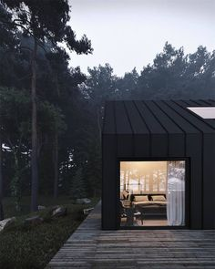 🖤 The Forest House is a contemporary conceptual home surrounded by dense vegetation. With its dark facade,… Minimalist Architecture, Architecture Details, Cabin In The Woods, Forest House, Woodland House, Modern Barn, Modern House Design, Loft Design, Design Model