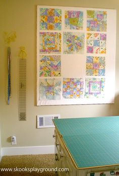 Quilt design wall: Super easy. Insulation foam and batting.