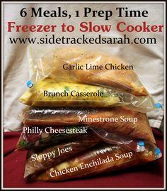 Crockpot Freezer Meals Week 6 - Crockpot Chicken Enchilada Soup  Minestrone Soup  Philly Cheese Steak Sandwiches  Sloppy Joes  Brunch Casserole  Garlic Lime Chicken